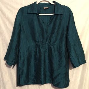 J hill green tunic ultra thin silky medium